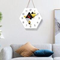 북유럽 방 장식 삼각형 패턴 벽시계 크리 에이 티브 아크릴 벽시계 대형 라운드 장식 시계 saat