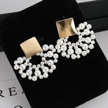 2019 Real Brinco Pendientes New Korean Moisture Fan-shaped Pearl Earrings Wholesale By Famous Fashion Ear Nails Manufacturers
