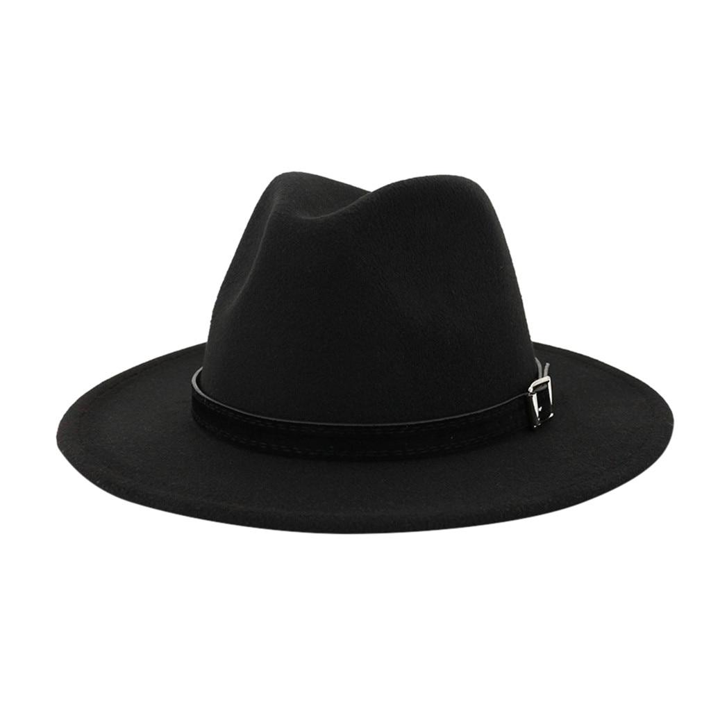 Women Wide Brim Wool Fedora Hat Elegant Vintage Trilby Hat Classic Jazz Cap