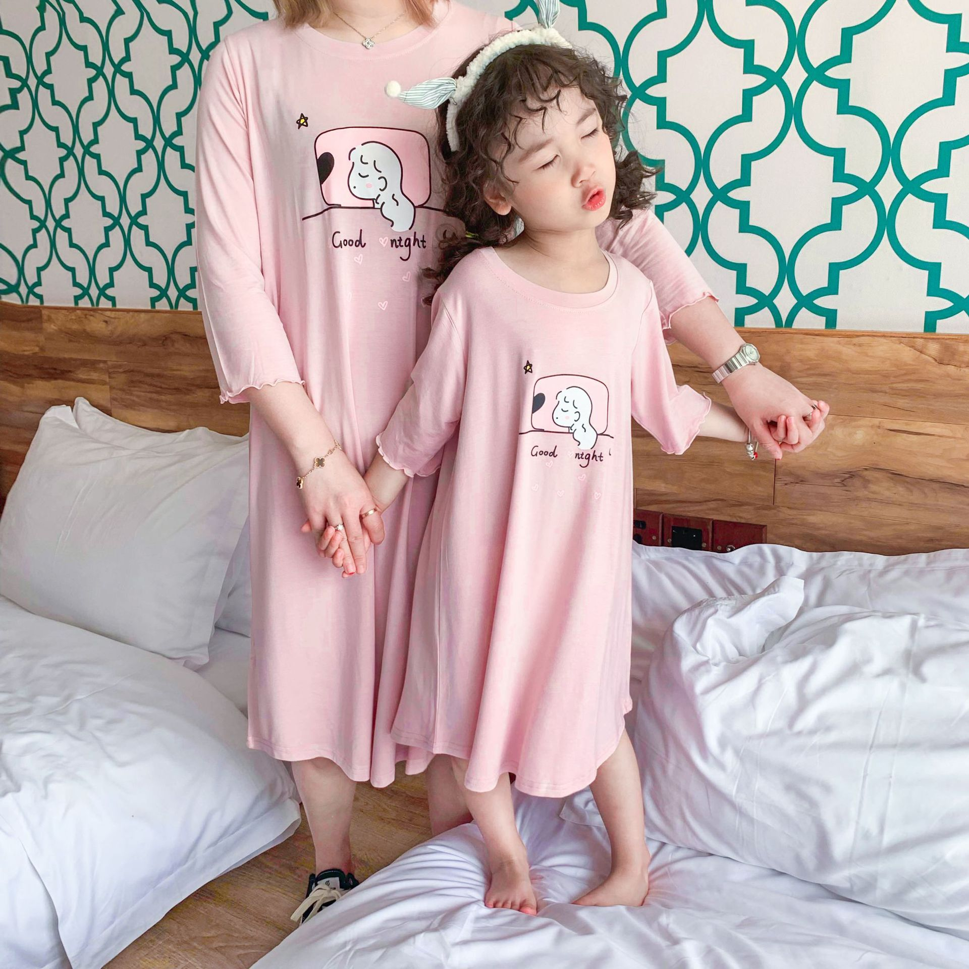 Parent And Child ~ Korean-style Girls Summer Simple Pure Cotton Skin Mu Er Xiu Nightgown Comfortable Cool Home Wear
