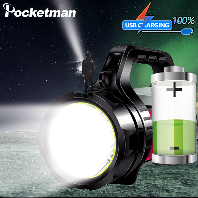 Most Powerful Rechargeable Searchlight LED Flashlight Handle Spot Light Ultra-long Standby Torch With USB OUTPUT Power Reserve