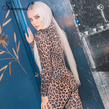 Simenual Leopard Sexy Hot Fitness Rompers Womens Jumpsuit Zipper Fashion 2019 Autumn Long Sleeve Party Clubwear Overalls Skinny
