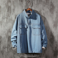 #0171 New 2019 Autumn Blue Black Denim Jacket Men Plus Size 5XL Hip Hop Jeans Jacket Windbreaker Homme Stand Collar Loose