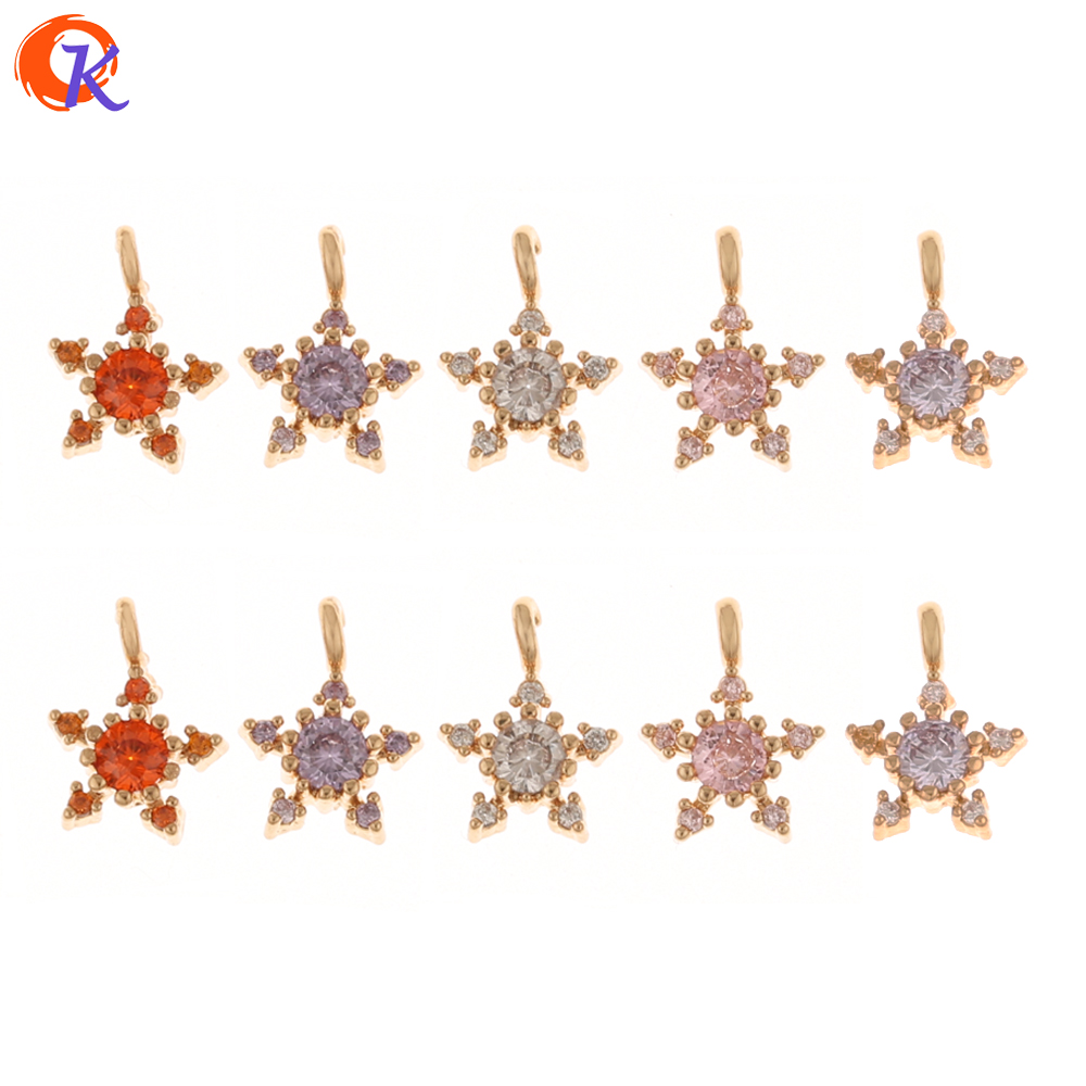 Cordial Design 100Pcs 7*10MM Jewelry Accessories/CZ Charms/Star Shape/Hand Made/Earrings Connectors/DIY Jewelry Making/Pendant