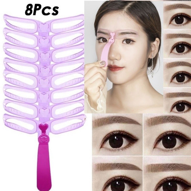 8Pcs  Eyebrow Card Eyebrow Shaping Template Thrush Artifact Mold Helps Quickly Draw The Ideal Eyebrow Shape Easy Makeup Tools