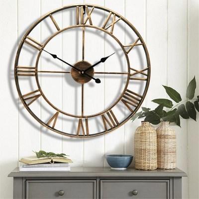 Europe style créatif horloge murale romaine numérique rétro fer montre horloge grandes ventes mur maison salon décoration horloge