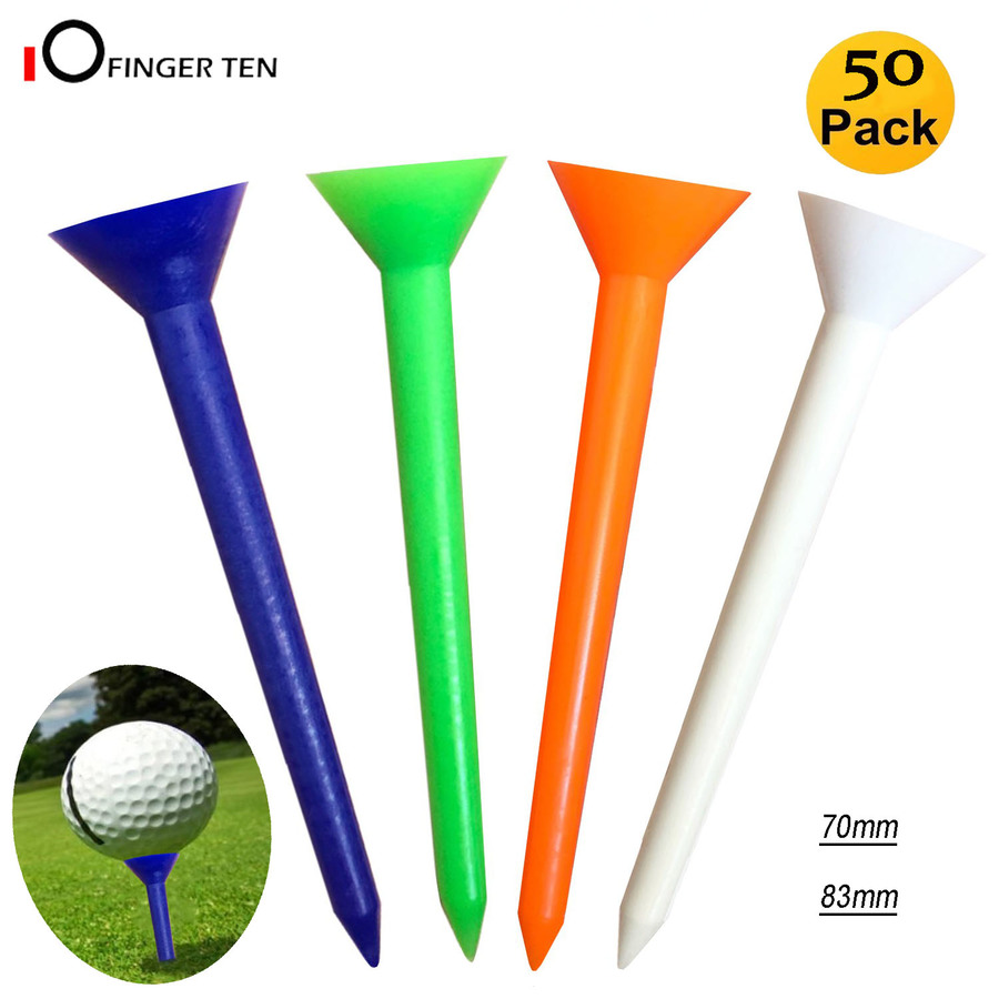 50 Pc Upgrade Big Cup Unbreakable Golf Tees Plastic 70mm 83mm Side Spin Reduce Friction Tee For Men Women