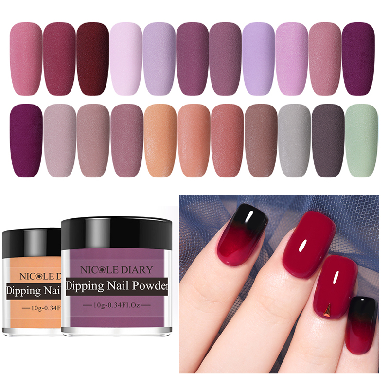 NICOLE DIARY Matte Dipping Nail Powder Glitters Pigment  Dust Nail Art Decorations Manicure Nails Glitter Dip Nail Powder 10g