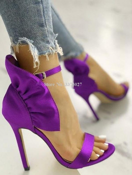 New Purple Satin Ruffles Stiletto Heel Sandals Lady Sweet Peep Toe Ankle Buckle Wedding Shoes Real Photos Pumps Dropship