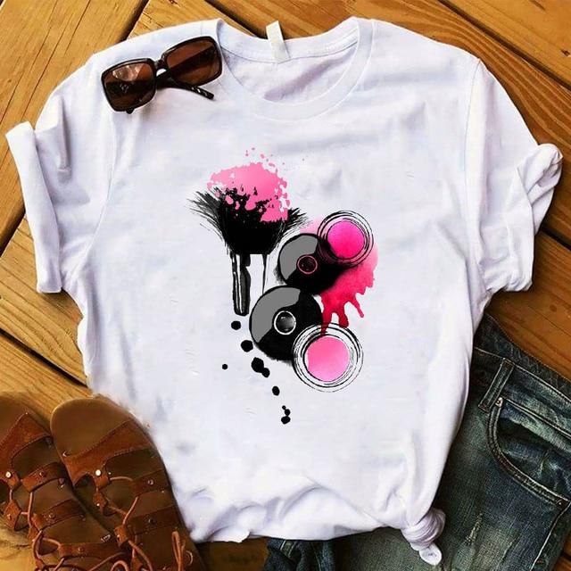 Women T Womens Graphic 3D Finger Nail Paint Color Fashion Cute Printed Top Tshirt Female Tee Shirt Ladies Clothes T-shirt 3