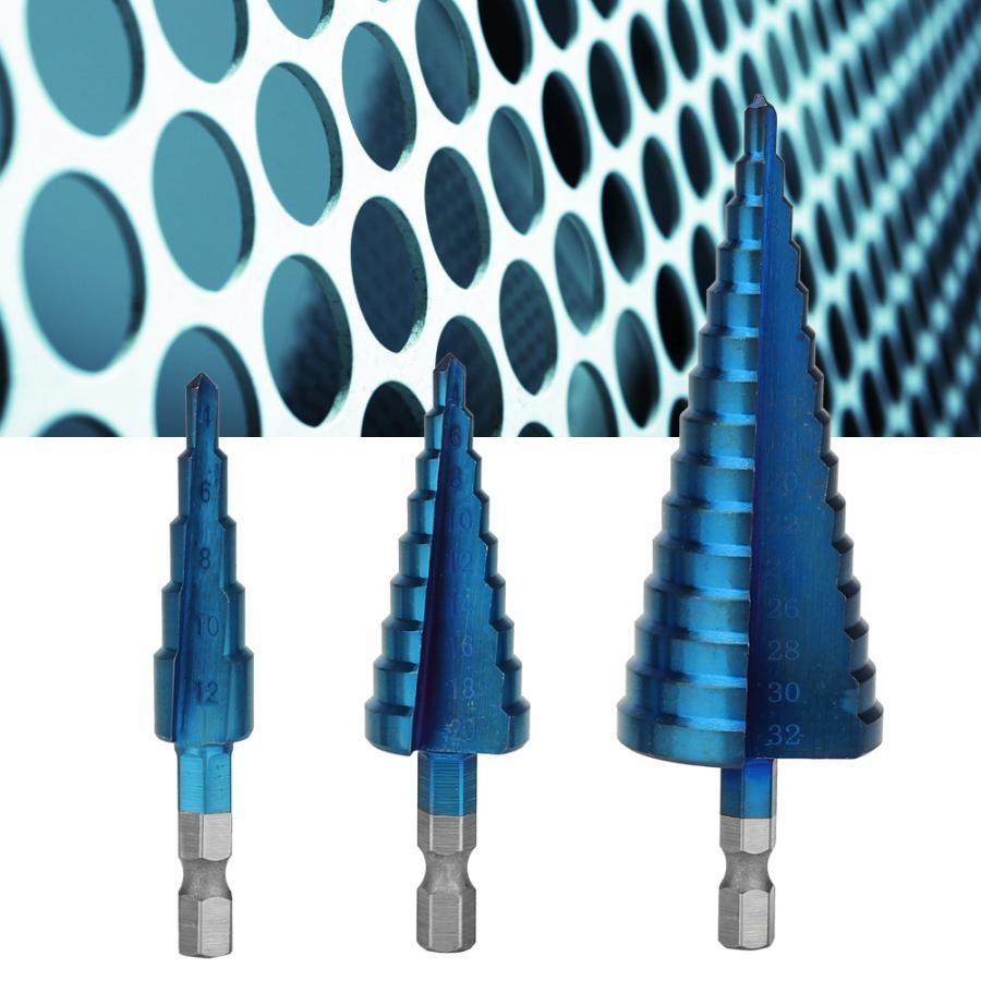 3Pcs Step Drill Bit Blue Coating Triangle Shank Cone Step Drill Bit Pagoda Drill Bit For Sheet Metal