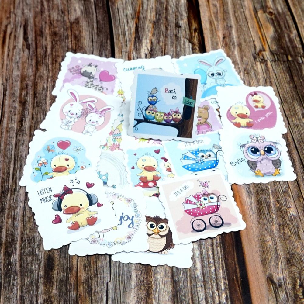 22PCS Kawaii Animals Stickers DIY Diary Stationery Stickers Girls Kids Children Gift Toy Rabbit Duck Owl Waterproof Stickers