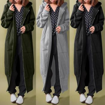 Autumn Winter Sweatshirt Coats ZANZEA Women Hoodies Zipper Long Outwear Casual Hooded Long Sleeve Fleece Jackets Plus Size Coat jaycosin women jackets coats autumn winter fashion slim long sleeve leather coat short jacket with pockets casual outwear 1011