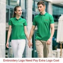 Мужская рубашка поло с вышитым логотипом на заказ, высокое качество, Wo men s Smart, Повседневная летняя однотонная Рабочая одежда