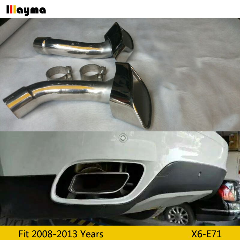 square tail exhaust tips muffler pipe for bmw x6 35i xdrive 2008 2013 year e71 stainless steel mufflers