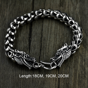 Image 2 - Dragon Scale Bracelet Chain Real Pure 925 Sterling Silver Double Heads Vintage Punk Rock Retro Style Men Jewelry