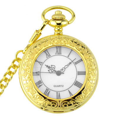Top Brand Vintage Golden Transparent Quartz Pocket Watch Men Women Pendant Necklace Pocket &fob Watch Chain Jewelry Gifts