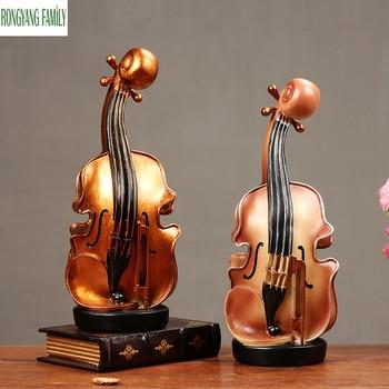 European Violin Sculpture Retro Musical Instruments Figurines Home Accessories Music Violin Decoration Miniatures Statue Crafts