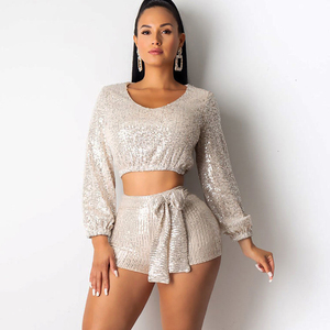 Image 3 - Ceremokiss Sequin Outfits Two Piece Set Women Sparkle Glitter V Neck Crop Top Shorts Autumn Sexy Bandage Puff Sleeve Club Sets