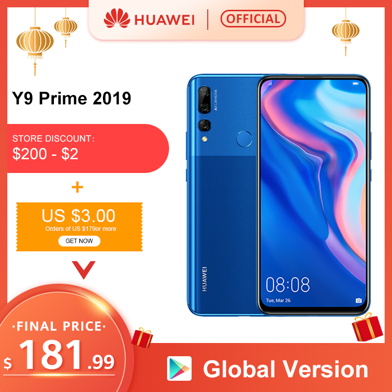 Original Huawei Y9 Prime 2019 Smartphone AI Triple Rear Cameras Global Version Cellphone 4G 128G Auto Pop-Up Front Camera 6.59""