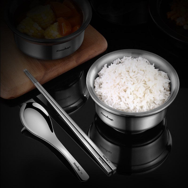Stainless Steel Bowl Household Soup Rice Bowl Chopsticks Cutlery Set Student Children Bowls