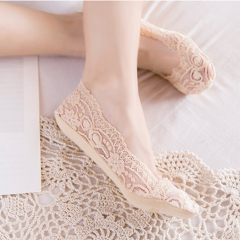 New Arrival Summer Women Silica Gel Lace Boat Socks Invisible Cotton Sole Non-slip Antiskid Slippers Anti-Slip Sock 1pair=2pcs