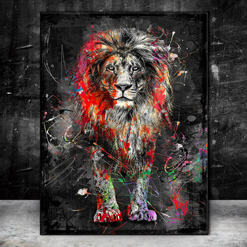 Abstract Graffiti Art Lion Painting Printed on Canvas 1