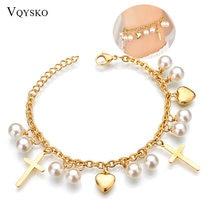 Женский новый браслет с жемчугом и сердечками богемский золотой