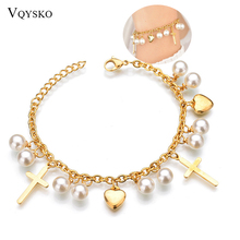 Women New Cross Pearl Heart Charms Bracelet Bohemia Gold Color Stainless Steel Link Chain Bracelets Fashion Christian Jewelry ailodo rose gold color titanium steel chain link bracelets for women love heart charms bracelet femme fashion jewelry ld371