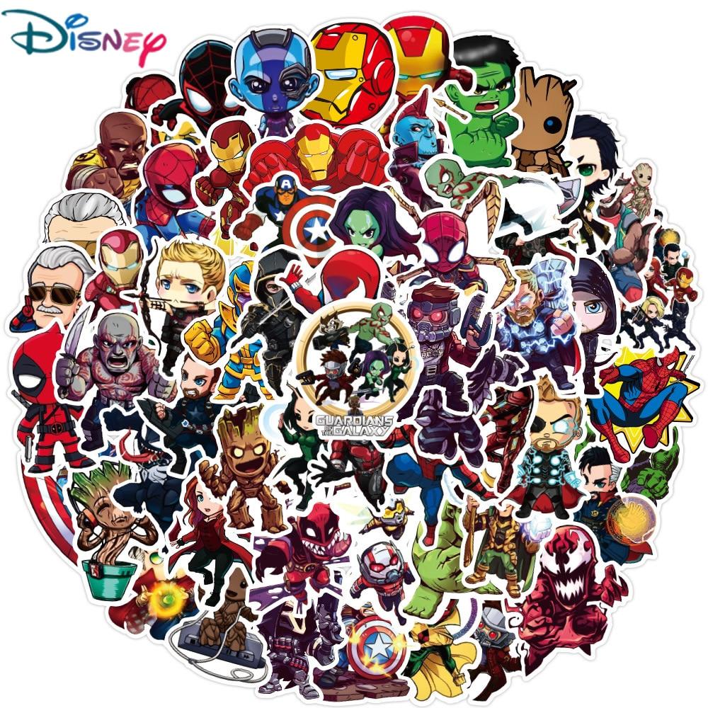 Disney 10/30/50 шт Мультяшные наклейки Marvel «мстители» от Водонепроницаемый стикеры Чемодан СКЕЙТБОРД гитара ноутбук клевые детские наклейки игру...