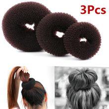 3 uds tamaño S/M/L de señora de las mujeres Donut anillo pelo Pelo accesorios del estilo Accesorios herramientas para el pelo