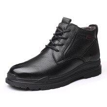 Мужские повседневные теплые плюшевые зимние ботинки; зимняя обувь из коровьей кожи и шерсти; уличные ботильоны на платформе; bota masculina zapatos de hombre man