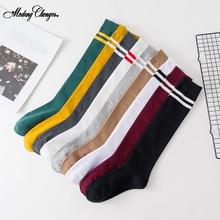 1 Pair Korean Style Solid Striped Socks Unisex Women Harajuku Striped Sports School Wind Comfortable Cotton Socks Multi Colors fashionable striped style men s socks black white pair