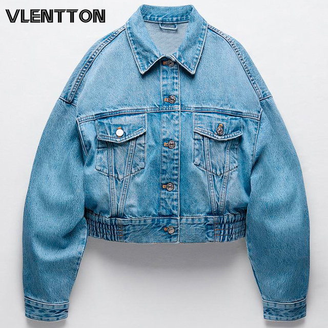 2020 Autumn Women Vintage Blue Short Denim Jacket Solid Bomber Jeans Coat Female Outwear Casual Loose Cowboy Tops Chaqueta Mujer 1