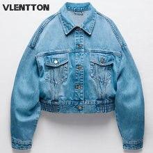 Женская джинсовая куртка бомбер голубая однотонная короткая