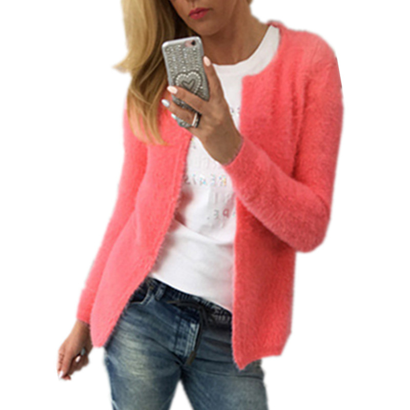 Plush Womens Cardigan Long Sleeve Plus Size Winter Autumn Fleece Christmas Oversized Sweater Yellow Pink White Green Kardigan