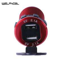 Car USB Charger with LED on Off Switch 4.2A 2 Ports for Car Motorcycle Phone Charger 2 1 car charger with dual usb ports