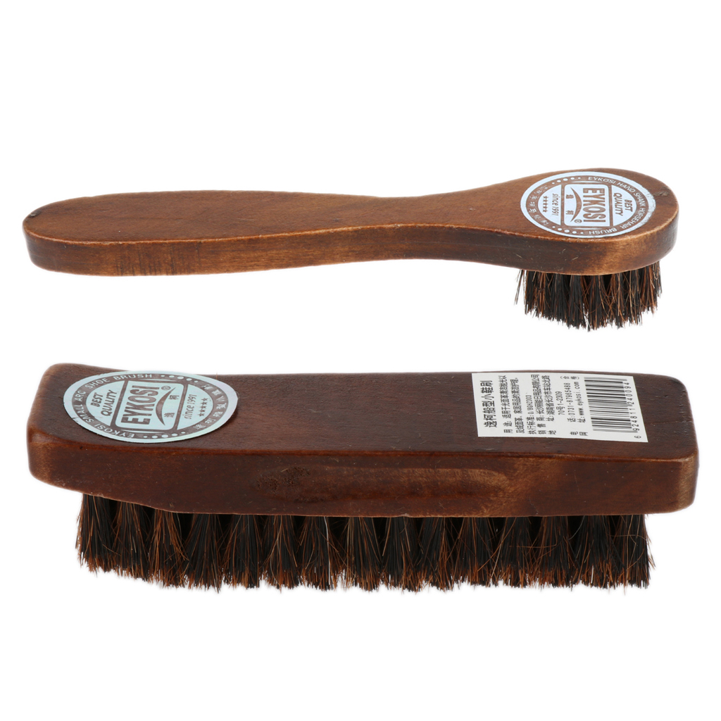 2pcs Long Wood Handle Horse Hair Brush Shoe Boot Polish Shine Cleaning Remove Ash Oiling For Suede Nubuck Boot Shoe Care Kit