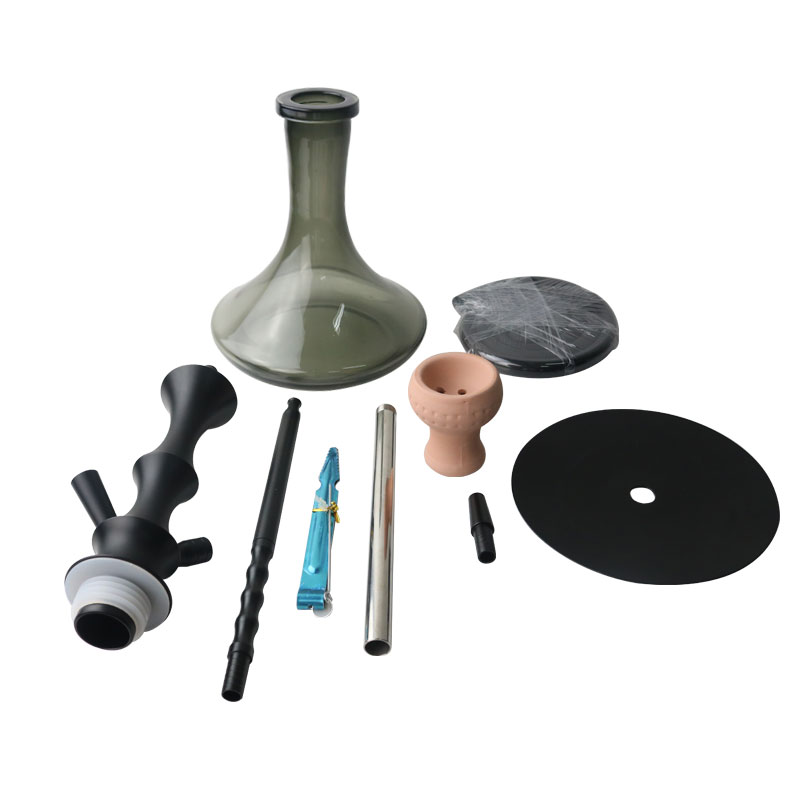 High Quality Aluminum Alloy Hookah Glass Bottle Hookah Shisha Set With Ceramic Bowl Silicone Hose Narguile Chicha Accessories 2