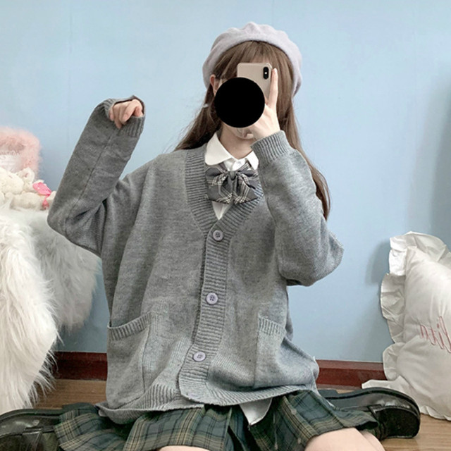 Cardigan Women Solid Oversize Harajuku Loose Sweaters Student Preppy Sweet Girl Cute Knitwear New All-match Soft Hot Sale Basic 3