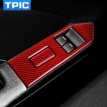 TPIC Carbon Faser Aufkleber Auto Fenster Switch Control Panel Abdeckung Innenausstattung Für Ford Mustang 2009 2013 Aufkleber Zubehör
