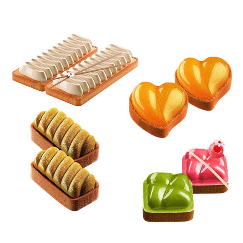 FUNBAKY Coração Praça Molde Do Bolo Do Silicone Para Moldes de Cozimento Ferramentas de Decoração Bakeware Geléia Queque Formas de Trufas