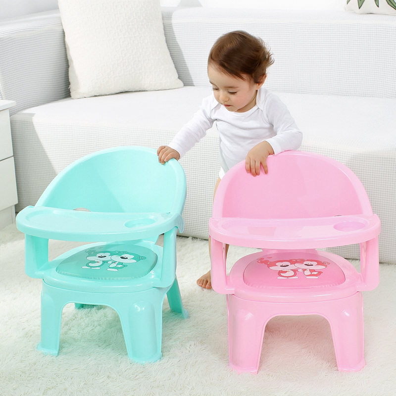 New Children's Dining Chair With Plate Baby Eating Table Baby Chair Dining Table Back Call Called Chair Baby Plastic Stool WY5