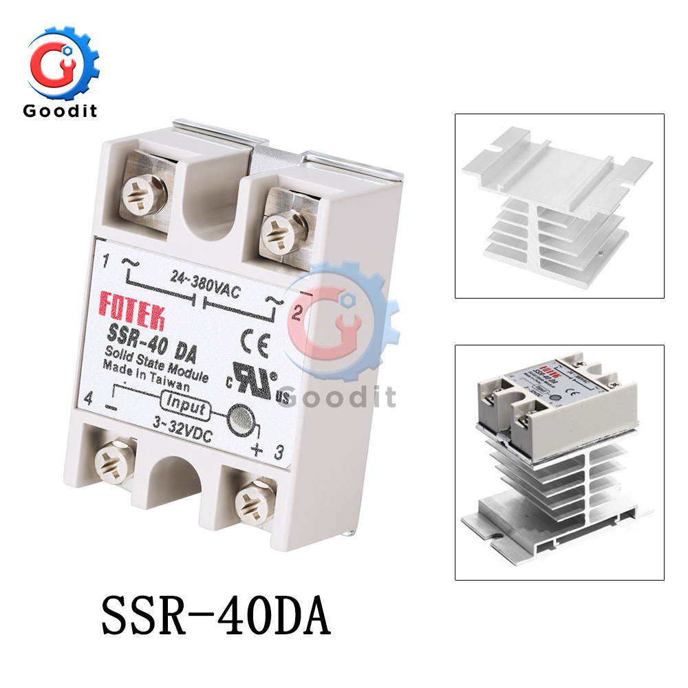 Solid State Relay Actually <font><b>SSR</b></font>-<font><b>40DA</b></font> 3-32V DC TO 24-380V AC <font><b>SSR</b></font> <font><b>40DA</b></font> WITHOUT Plastic Cover Single Phase Solid State Relay image