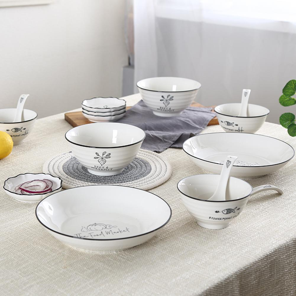 26Pcs/Set Simple Pattern Stackable Ceramic Tableware Set Western-style Dinner Dishes and Plates Sets