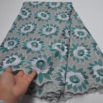african Swiss Voile Lace With Stones French Nigerian Flower Embroidery Cotton lace Material fashion Style Quality 2020