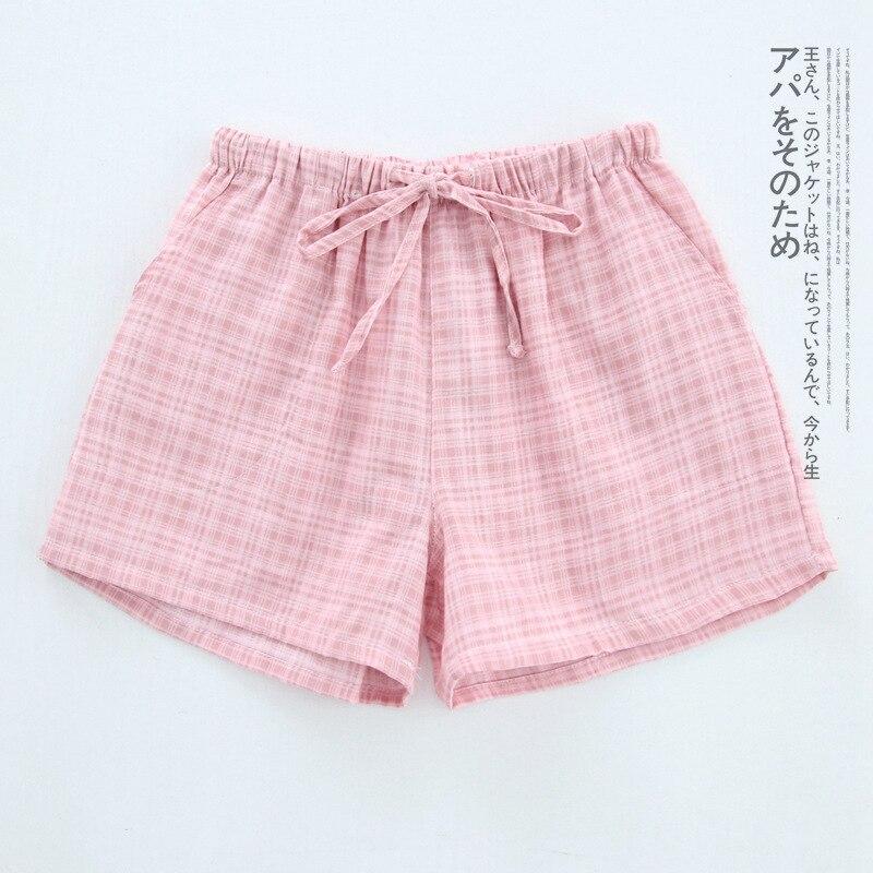 Летние женские Пижамные шорты, хлопковые газовые пижамы, штаны с принтом, штаны для сна, одежда для сна, женская одежда для сна - Цвет: Tricolor pink