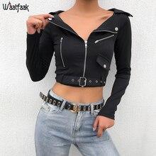 Waatfaak Punk Gothic Black/Short Crop Jacket Women Belt Zipp