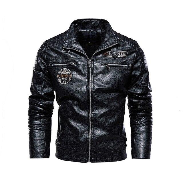 Leather Jacket Men Winter Fleece Motorcycle PU Leahter Jacket Male  Stand Collar Casual Windbreaker Ropa De Hombre Slim Coat 4XL 3