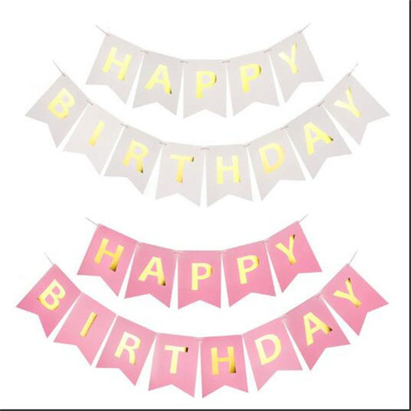 Baby Photography Accessorie Happy Birthday Banner Baby Birthday Party Decorations Photo Tool Happy Birthday Bunting Garland Flag